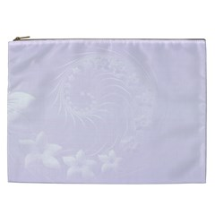 Pastel Violet Abstract Flowers Cosmetic Bag (xxl)