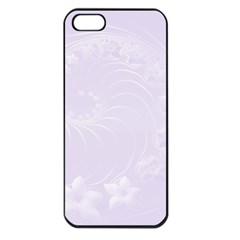Pastel Violet Abstract Flowers Apple iPhone 5 Seamless Case (Black)