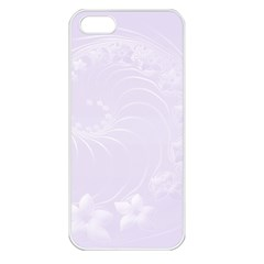 Pastel Violet Abstract Flowers Apple Iphone 5 Seamless Case (white)