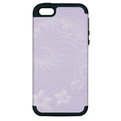 Pastel Violet Abstract Flowers Apple iPhone 5 Hardshell Case (PC+Silicone)