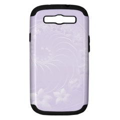 Pastel Violet Abstract Flowers Samsung Galaxy S III Hardshell Case (PC+Silicone)