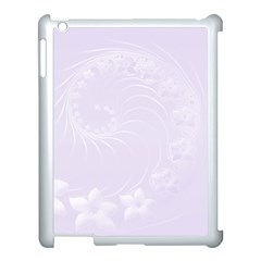 Pastel Violet Abstract Flowers Apple iPad 3/4 Case (White)