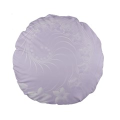 Pastel Violet Abstract Flowers 15  Premium Round Cushion