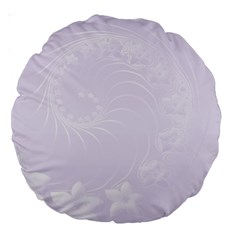 Pastel Violet Abstract Flowers 18  Premium Round Cushion