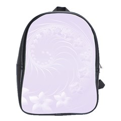 Pastel Violet Abstract Flowers School Bag (XL)