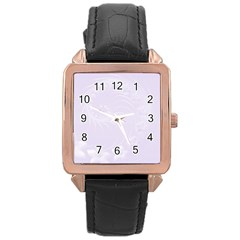 Pastel Violet Abstract Flowers Rose Gold Leather Watch