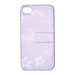 Pastel Violet Abstract Flowers Apple Iphone 4/4s Hardshell Case With Stand
