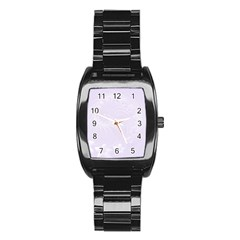 Pastel Violet Abstract Flowers Men s Stainless Steel Barrel Analog Watch