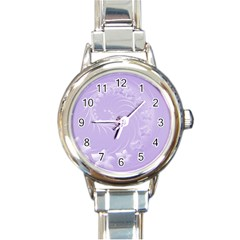 Light Violet Abstract Flowers Round Italian Charm Watch