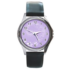 Light Violet Abstract Flowers Round Metal Watch (silver Rim)