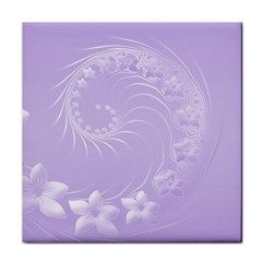 Light Violet Abstract Flowers Ceramic Tile