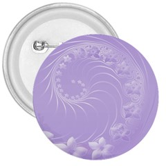 Light Violet Abstract Flowers 3  Button