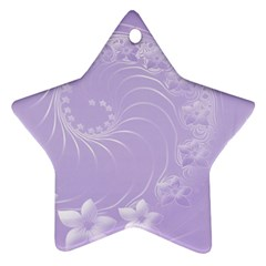 Light Violet Abstract Flowers Star Ornament