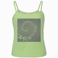 Light Violet Abstract Flowers Green Spaghetti Tank