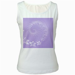 Light Violet Abstract Flowers Womens  Tank Top (White)