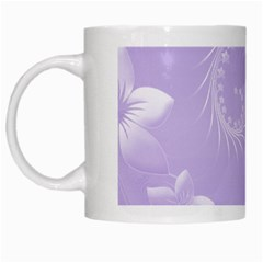 Light Violet Abstract Flowers White Coffee Mug