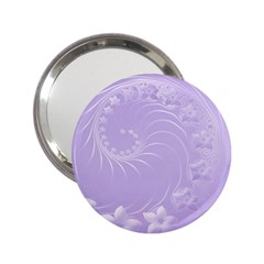 Light Violet Abstract Flowers Handbag Mirror (2 25 )