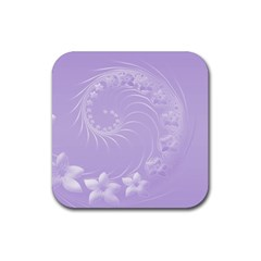 Light Violet Abstract Flowers Drink Coaster (square)