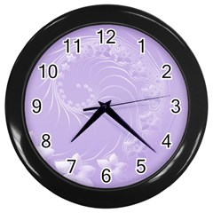 Light Violet Abstract Flowers Wall Clock (Black)