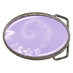 Light Violet Abstract Flowers Belt Buckle (Oval)