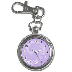 Light Violet Abstract Flowers Key Chain & Watch