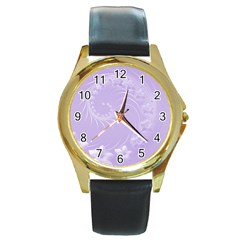 Light Violet Abstract Flowers Round Metal Watch (Gold Rim)