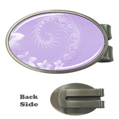 Light Violet Abstract Flowers Money Clip (Oval)