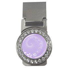 Light Violet Abstract Flowers Money Clip (CZ)