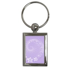 Light Violet Abstract Flowers Key Chain (Rectangle)