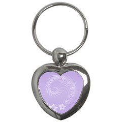 Light Violet Abstract Flowers Key Chain (Heart)