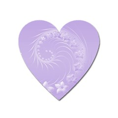Light Violet Abstract Flowers Magnet (Heart)