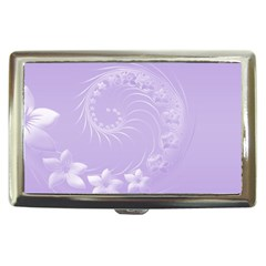 Light Violet Abstract Flowers Cigarette Money Case