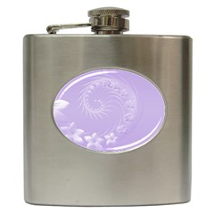 Light Violet Abstract Flowers Hip Flask