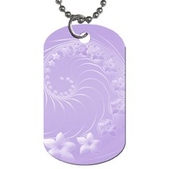 Light Violet Abstract Flowers Dog Tag (Two Sided)
