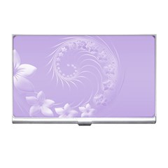 Light Violet Abstract Flowers Business Card Holder