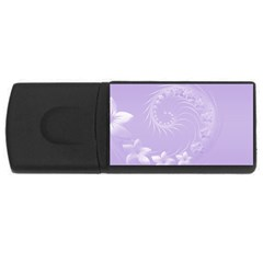 Light Violet Abstract Flowers 2GB USB Flash Drive (Rectangle)