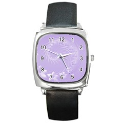 Light Violet Abstract Flowers Square Leather Watch