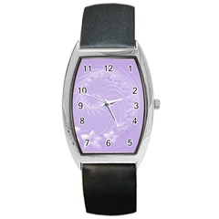 Light Violet Abstract Flowers Tonneau Leather Watch
