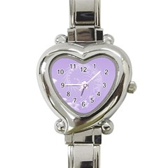 Light Violet Abstract Flowers Heart Italian Charm Watch