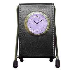 Light Violet Abstract Flowers Stationery Holder Clock