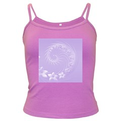 Light Violet Abstract Flowers Spaghetti Top (Colored)