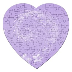 Light Violet Abstract Flowers Jigsaw Puzzle (heart)