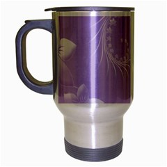 Light Violet Abstract Flowers Travel Mug (Silver Gray)