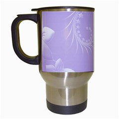 Light Violet Abstract Flowers Travel Mug (White)