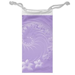 Light Violet Abstract Flowers Jewelry Bag