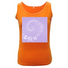 Light Violet Abstract Flowers Womens  Tank Top (Dark Colored)