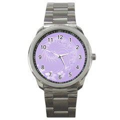 Light Violet Abstract Flowers Sport Metal Watch