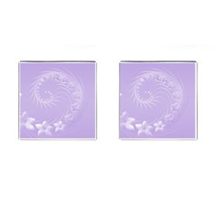 Light Violet Abstract Flowers Cufflinks (Square)
