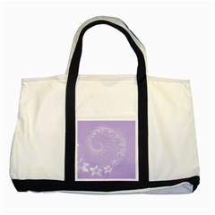 Light Violet Abstract Flowers Two Toned Tote Bag