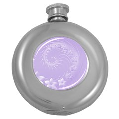 Light Violet Abstract Flowers Hip Flask (round)